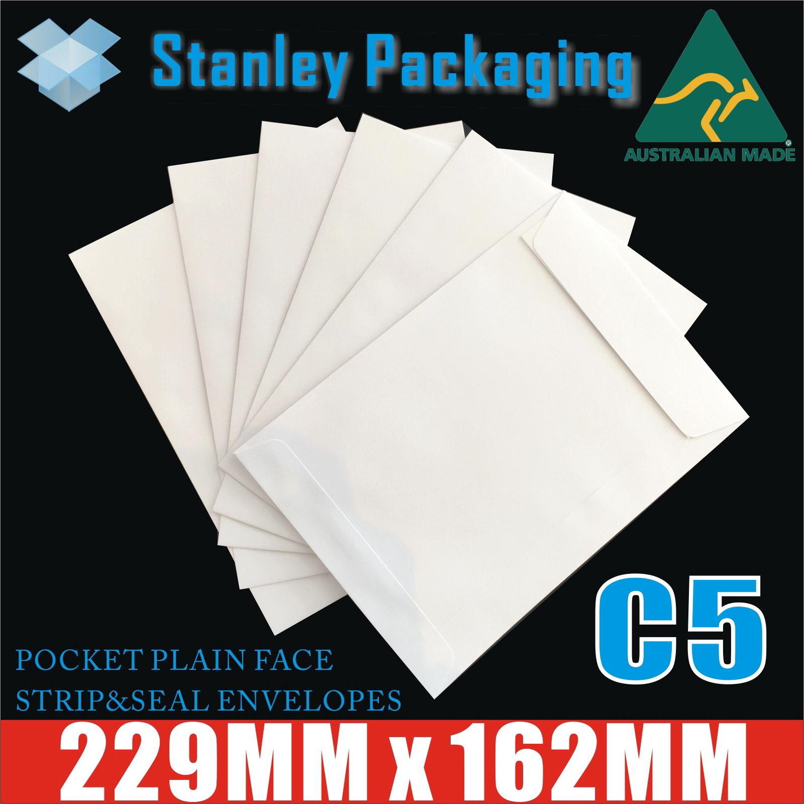 C5 White Envelopes 162mm x 229mm Peel N Seal Plain Face Pocket